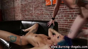 a strap hot on lesbians tattooed dildo7 punk fucking with How to make a women squirt with penis