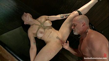 used and woman tied Timea bella triple anal for both