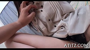 wet lesbian asian Pretty abelia gets nailed by choky ice