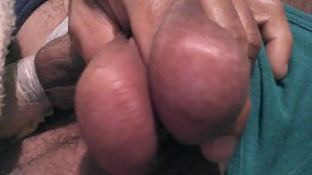 big tgirl balls hanging Natural big titted eating out of her tits
