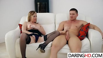 milf counter black gets by over guy kitchen the bent blond Big vibrator small pussy